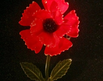 Vintage Hot Pink Ruffled Flower Enamel Brooch