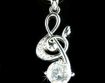 Big Cubic Zirconia Swarovski Crystal TREBLE G CLEF Love Music Musical Note Charm Pendant Necklace Christmas Gift new