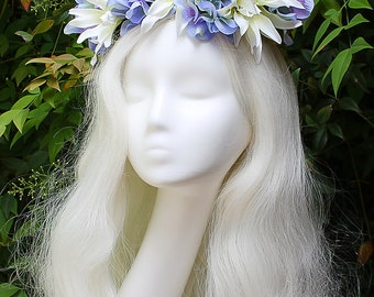 Blue and White Flower Crown, Autism Awareness, Butterfly, Blue, Flower Crown, Floral Crown, Headpiece, Fairy, Renaissance, Costume
