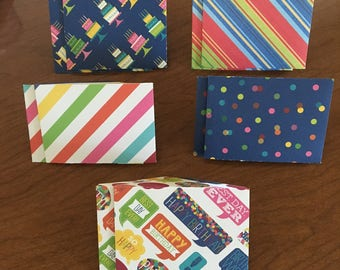 Birthday Mini Envelopes, Gift Card Size, Pack of 10