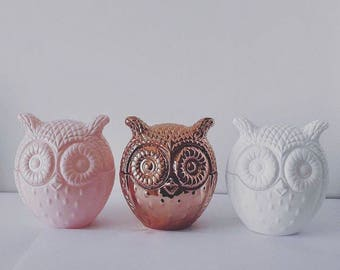 Owl | Soy Wax Candle | Home Decor | Candle | Pink | Copper | White