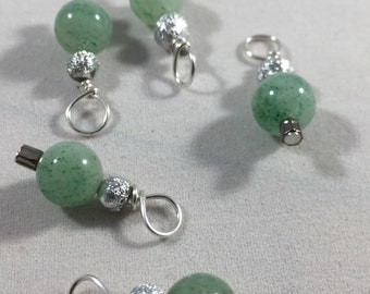 Vintage green glass beads with Bali silver balls stitch markers for knitting