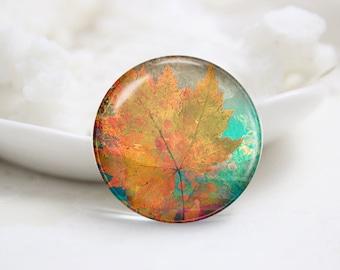 Maple leaf Photo Glass Cabochons (P3763)