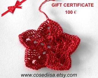Gift card, Valentine gift, Last minute gift, Christmas Gift Certificate, 100 Euro voucher,  custom made gift, knitting gift, crochet gift