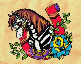 Day of the Dead HORSE Old School Tattoo Horseshoe Art Print 8 x 10 or 11 x 14