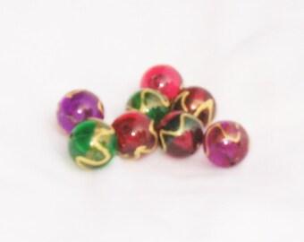 Perlen, Glas, rot, lila, grün, lackiert, mehrfarbig, F, destash