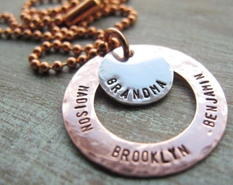 Personalized Grandmother or Mother Necklace Copper and Silver - Hand Stamped Mixed Metals