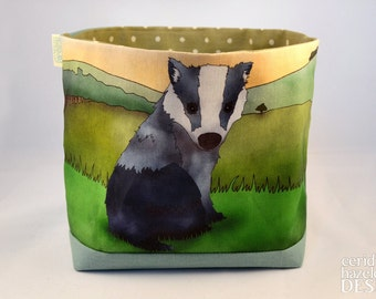 Badger Fabric Storage Box,  Storage Basket, Fabric Basket, Fabric Organiser, Storage Bin, Badger Gift