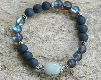 Beautiful blue stone and frosted plated crystal gemstone wrist mala bracelet