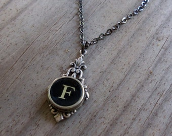 Initial F Necklace, Vintage Typewriter Pendant, Writer Gift Idea