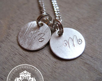 Reserved 7 Monogram charms Initial Necklace,