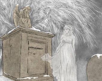 "An illustration inspired by Edgar Allan Poe's poem ""Annabelle Lee""."