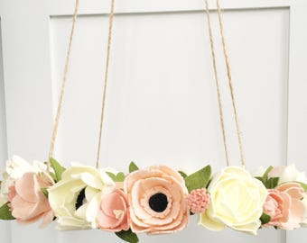 Flower Crib Mobile, Pink Peony Felt Flower Mobile, Blush Flower Crib Mobile, Baby Crib Mobile, Nursery Decor, Baby Decor, Peony Flowers