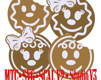 Gingerbread Heads Holiday Gift Tag Cut Files MTC SVG SCAL v2 Digital Format Bundle of 4