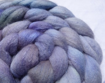 Blue Polwarth and Mulberry Silk Blend - Hand Dyed Wool Roving (Top) - 100g