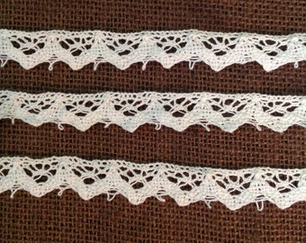 Vintage cluny lace cotton trim yardage off white ivory delicate sewing art supply notion romantic french cottage chic Victorian