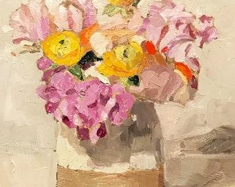 """Oil Painting, still life, alla prima 8""""x8"""" floral still life"""