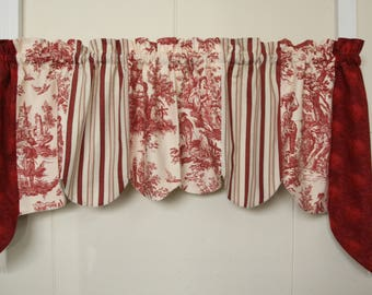 Waverly Quilted Swag Cranberry Toile Valance