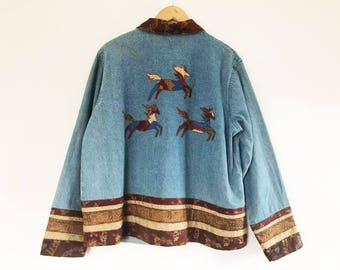 Coldwater Creek | Vintage 1990's Blue Jean Horse Jacket / Embroidered Jacket / Cowgirl Jacket