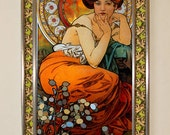 Items similar to Alphonse Mucha - Topaz, Stained Glass on Etsy
