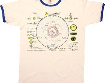 The Solar System Mens RINGER T-Shirt Retro Style Cool Fashion New