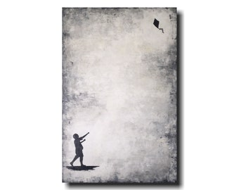 Original art Large Abstract painting - 24 X 36 JMJartstudio- -Black and white fathers  day gift