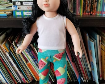 "Doll Leggings, 18"" Doll Clothes, Popcicle Doll Pants, Girl Doll Trousers"