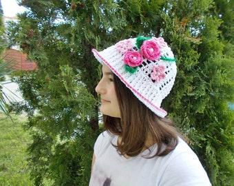 Crochet sun hat, Crochet girls Hat, Summer girls hat, White summer hat, crochet hat, Girls summer hat, Knitted baby hat, Girl's hat