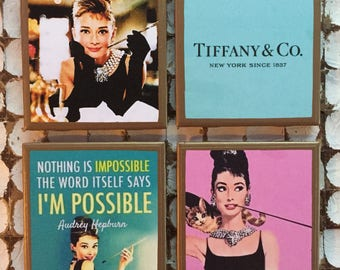 COASTERS! Audrey Hepburn Breakfast at Tiffany's coasters with gold trim