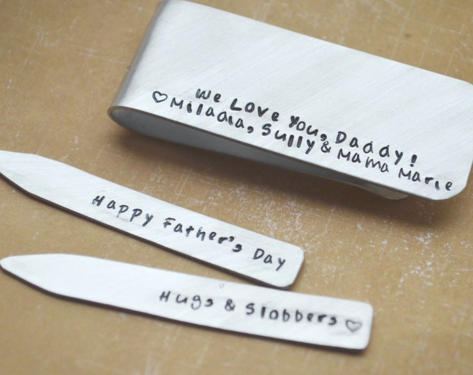 Personalized Collar Stays and Money Clip Gift Set - Men Custom Hand Stamped  Groomsmen Best Man Gift Fathers Day Gift
