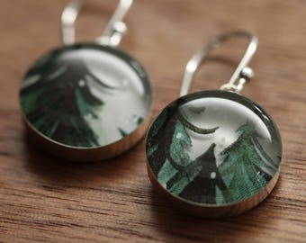 Winter trees earrings made from recycled Starbucks gift cards. sterling silver and resin.