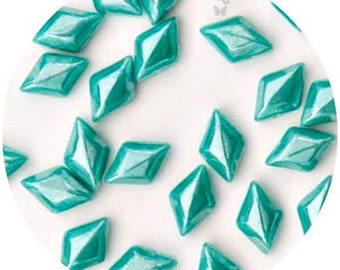 NEW GemDuo Beads, Turquoise Green Luster #GD8563130-14400 (40pcs), 8x5mm Diamond Shaped 2-Hole Bead Supply, DIY Jewelry Supply