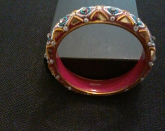Vintage Middle Eastern Mosaic Bangle Bracelet