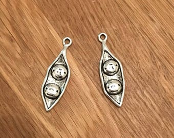 Antique Silver Tone Tibetan Silver Peas in a Pod Pendant Charms 37mm x 11mm