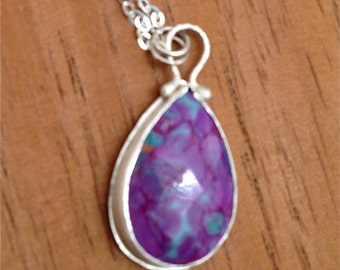 Sterling Silver Pendant with Purple Turquoise