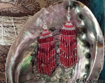 Native Beaded Earrings in Red and Clear