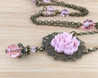 Pink Flower Necklace Victorian Necklace Rose Cabochon Pendant Beaded Rosary Style Necklace Gift for Her Antique Brass Chain Spring Necklace
