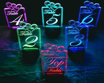 Illuminate LED Colour Table Numbers Custom Wedding / Party / Table Centerpiece