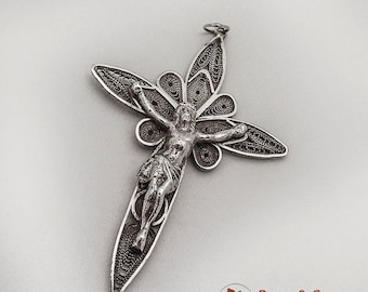 SaLe! sALe! Large Figural Filigree Cross Pendant Sterling Silver Peru