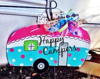 Camper signs, Happy Campers, Camper Door Hanger, Camper Sign, Free Shipping