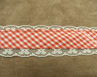 FANCY GINGHAM Ribbon - 3 cm - pink