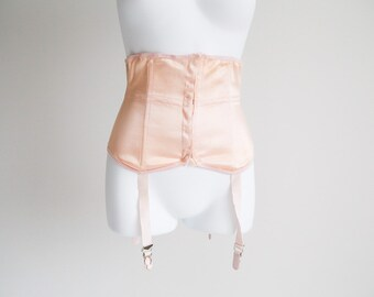 Diana, Peach Satin Waist Cincher with Garters - Union Label- Sz 26