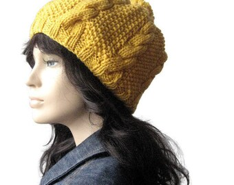Knit Hat, Sunflower Yellow Hat, Slouchy Hat, Cables and Seed Stitch with Pom Pom Hat, Vegan Hat,  Winter Accessories, Womens Hat