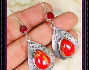 Copper Red Coral Earrings
