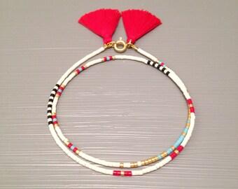 Beaded Tassel Bracelet Seed Bead Bracelet Delicate Beaded Bracelet