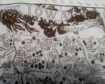Vintage State of Iowa Souvenir Hankie Handkerchief Map with Cities and Sites Hawkeyes Buildings Surrounding States Brown White Printed Hanky