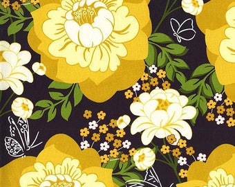Strawberry Moon - Flutter by Rose in Honey - Sandi Henderson for Michael Miller - DC7305 - Yellow and Black Floral