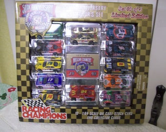 Racing Champions Diecast 1:64 Scale Nascar 50th Anniversary Collector Set~3 of 4~12 Race Cars & Collector Cards, Limited Edition~1998 Set