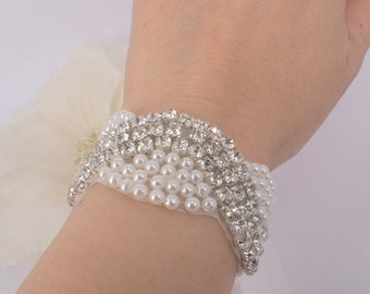 Jenni- Rhinestone and pearl with ribbon  Bracelet