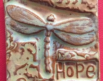 Hope with dragonfly handmade earthenware tile by tilesmile